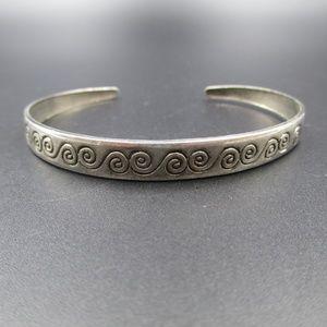 Jewelry - Vintage Rustic Silver Tone Swirls Cuff Bracelet
